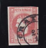 ROMANIA 1868 , CAROL I CU FAVORITI   18 BANI  STAMPILAT   CRAIOVA