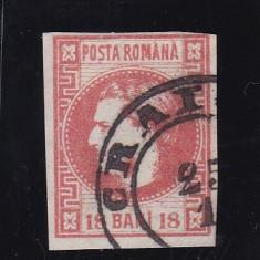 ROMANIA 1868, CAROL I CU FAVORITI 18 BANI STAMPILAT CRAIOVA - Timbre Romania
