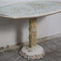 Masuta din ceramica/ipsos cu blat din sticla; Masa decor; Piedestal - Portelan, Decorative