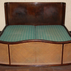 Pat dublu, Vintage, din lemn masiv; Pat de centru cu saltea - Pat dormitor, Cu arcada semirotunda, Pat de mijloc