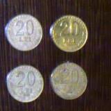 ROMANIA - LOT 4 MONEDE 20 LEI 1991, 1992, 1993, 1994 - Moneda Romania