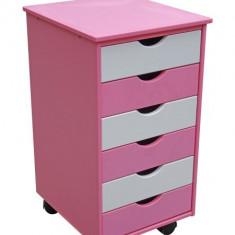 Comoda pentru birou fetite - roz