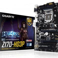 Placa de baza GIGABYTE Socket LGA1151, Z170-HD3P, 4*DDR4 2133/3466Mhz, DP/HDMI/DVI, 2*PCIEx16, 2*PCIEx1, 2*PCI, 6*SATAIII/3*SATAExpress, 7.1CH, bulk, Altul, ATX