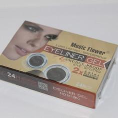Tus Eyeliner Gel 2 culori Music Flower Negru si Maro rezistent la apa + pensula - Tus ochi