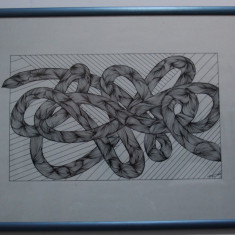 Tablou semnat, tus pe hartie, Nodul Gordian; Pictura - Tablou autor neidentificat, An: 2002, Nonfigurativ, Acrilic, Abstract
