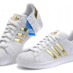 Adidas Superstar Gold - Adidasi dama, Culoare: Alb, Marime: 38, 40, Piele sintetica