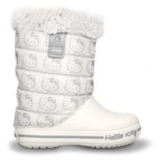Cizme pentru copii Crocs Hello Kitty Gust Boot Europe Oyster (Crc11787-159) - Cizme copii Crocs, Marime: 27.5, Culoare: Alb