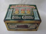 Cutie englezeasca veche din tabla inscriptionata The Public Benefit Boot Company