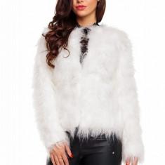 Jacheta din blanita alba (MARIME: M) - haina de blana