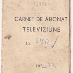 Carnet de abonat Televiziune 1971-1973