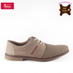 Pantofi barbati piele naturala RIEKER bej (Marime: 45) - Pantof barbat