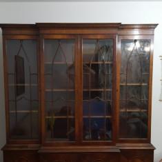 Biblioteca Vitrina Antica Vintage George III 4 Usi Oval Astral Glaze Mahon 1760, Inainte de 1800