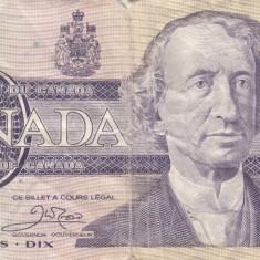 Canada 10 dolari 1989 circulati - bancnota america