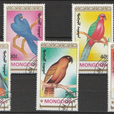 Mongolia 1990 - papagali, serie stampilata - Timbre straine
