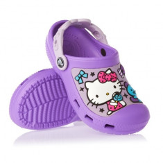 Papuci Crocs copii Hello Kitty Candy Ribbons Purple lavender (Crc12948-551) - Papuci copii Crocs, Marime: 33.5, 34.5, Culoare: Mov