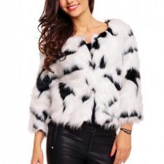 Jacheta din blanita alb-negru (MARIME: SM) - haina de blana