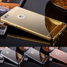 Husa / Bumper aluminiu + spate oglinda pentru Huawei P8 lite - Bumper Telefon, Auriu