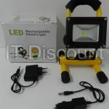 Proiector LED cu Acumulator 10W 12V 220V Alb Rece cu suport - Corp de iluminat, Proiectoare