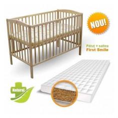 Patut Natur cu Saltea Bio 120 x 60 cm First Smile - Patut lemn pentru bebelusi