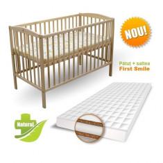 Patut Natur cu Saltea Coco Lux 120 x 60 cm First Smile - Patut lemn pentru bebelusi