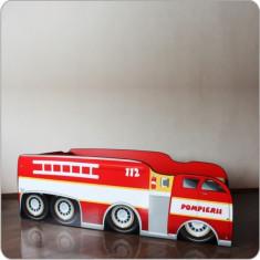 Pat copii masina Pompieri 2 - Pat tematic pentru copii Altele, Altele, Alte dimensiuni, Rosu
