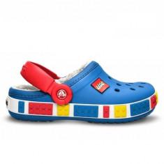 Papuci Crocs imblaniti Crocband Mammoth LEGO Clog Kids (CRC14631-SEA ) - Papuci copii Crocs, Marime: 23.5, 33.5, Culoare: Albastru