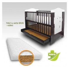 Patut copii cu sertar Bruni si Saltea Bio 120 x 60 cm First Smile - Patut lemn pentru bebelusi