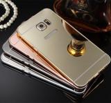 Husa / Bumper aluminiu cu spate oglinda pentru Samsung Galaxy S6
