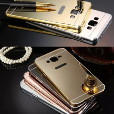 Husa / Bumper aluminiu + spate acril oglinda Samsung Galaxy J3 (2016) / J320F - Bumper Telefon, Negru