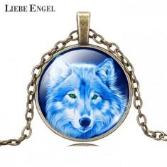 Medalion/Pandativ - Lup/Wolf - Model 1/Sticlă/Nou Nouț/Țiplă/Unic/