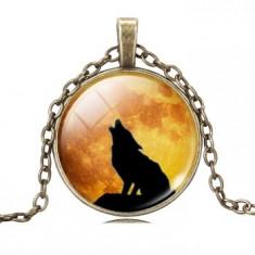 Medalion/Pandativ - Lup/Wolf - Model 2/Sticlă/Nou Nouț/Țiplă/Unic/