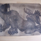 "MARCEL CHIRNOAGA, GRAVURA PRIN SUDURA PE PIELE -""ANIMALIC"" - Pictor roman, Animale, Cerneala, Abstract"