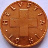 Moneda ISTORICA 1 RAPPEN - ELVETIA, anul 1951  *cod 05  ---  literaB