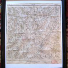 Harta 1914 Barlad Tutova hartie serviciul geografic al armatei inramata - Hartie cu Antet