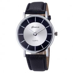 Ceas barbati - marca Geneva - cadran negru-argintiu curea neagra - Ceas barbatesc Geneva, Quartz