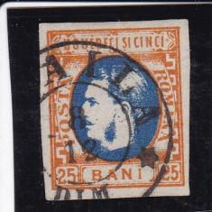 ROMANIA 1869 LP 28 MI 24 CAROL I CU FAVORITI VAL 25 BANI PORT/ALBASTRU STAMP. - Timbre Romania, Stampilat