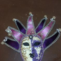 Masca venetiana, originala - Masca carnaval, Marime: Marime universala, Culoare: Albastru