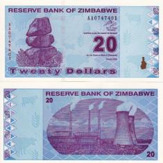 ZIMBABWE 20 dollars 2009 UNC!!! - bancnota africa
