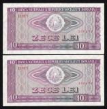 ROMANIA, 2 BANCNOTE 10 LEI 1966, aUNC+_numere consecutive