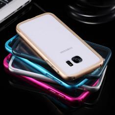 Bumper metalic / husa aluminiu cu spate din acril transpatent Samsung Galaxy S7