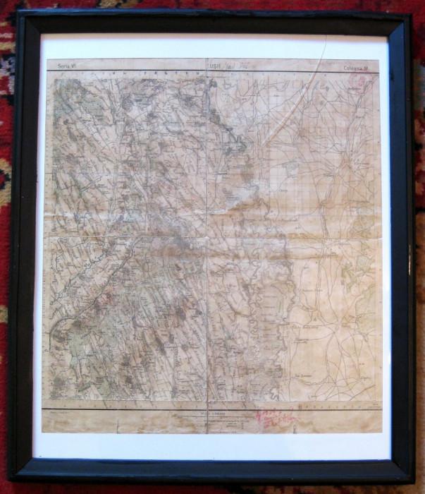 Harta 1912 Husi Vaslui hartie pe panza inramata