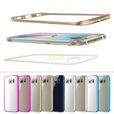 Bumper metalic / husa aluminiu + spate acril transpatent Samsung Galaxy S6 edge