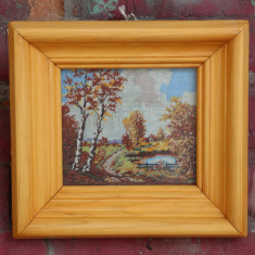 Goblen inramat peisaj cu iaz; Tablou Vintage cu rama din lemn - Tapiterie Goblen