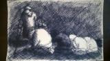 Oameni ai strazii rugandu-se, Scene gen, Cerneala, Impresionism