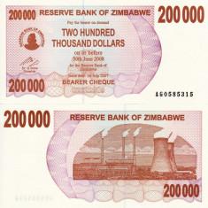 ZIMBABWE 200.000 dollars 2007 BEARER CHEQUE UNC!!!