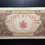 10.000 Lei 18 Mai 1945 Romania, XF++/a UNC, Filigran orizontal - Bancnota romaneasca