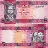SUDANUL DE SUD 5 pounds 2015 UNC!!! - bancnota africa