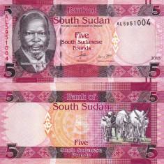 SUDANUL DE SUD 5 pounds 2015 UNC!!!