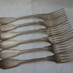 Set de 6 furculite mari englezesti placate cu argint, anii 1900, Tacamuri