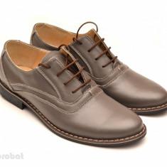 Pantofi barbati piele naturala Gri casual-eleganti cu siret cod P52 - Made in RO, Marime: 37, 38, 39, 40, 41, 42, 43, 44, 45